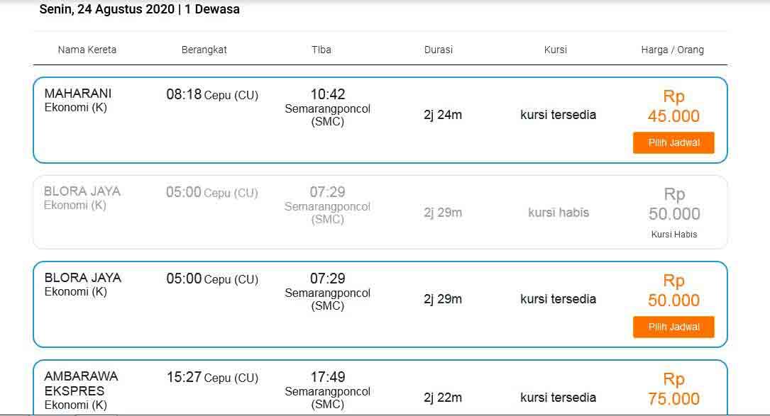 Tiket KA Blora Jaya